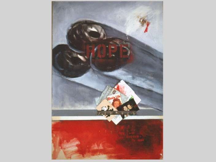 Hope/nohope, 1991 oil, assemblage on canvas, 2011, PPCD, LLC