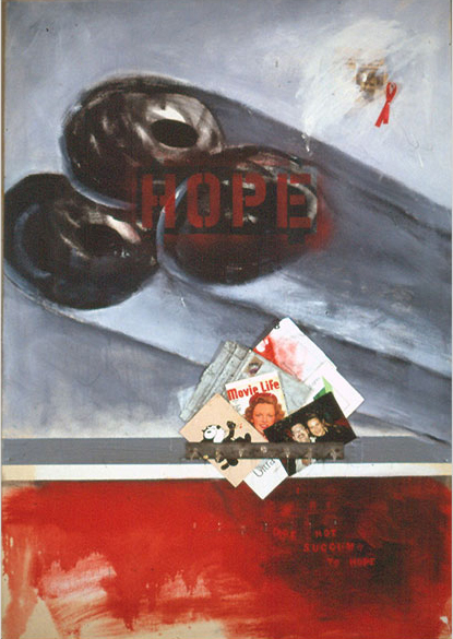 Hope/nohope, 1991 oil, assemblage on canvas, ©2011, PPCD, LLC