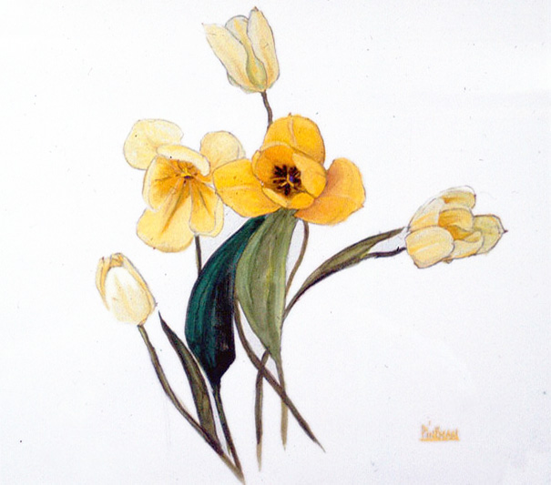 Tulips, acrylic on paper 1983