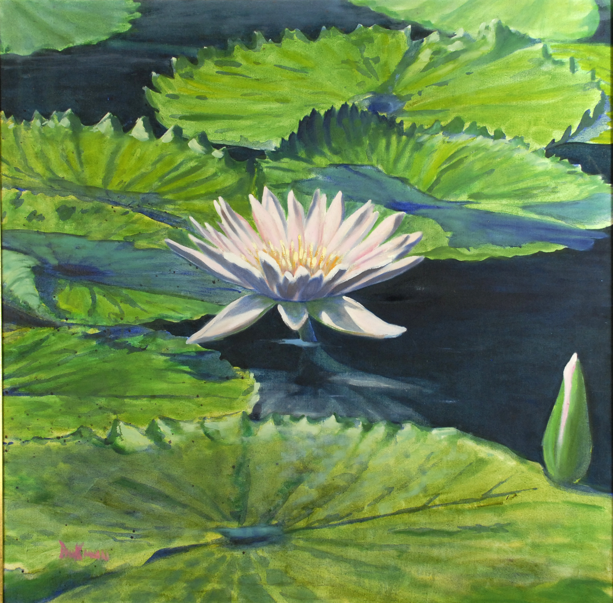 Pink waterlilly, Oil on canvas, 1992