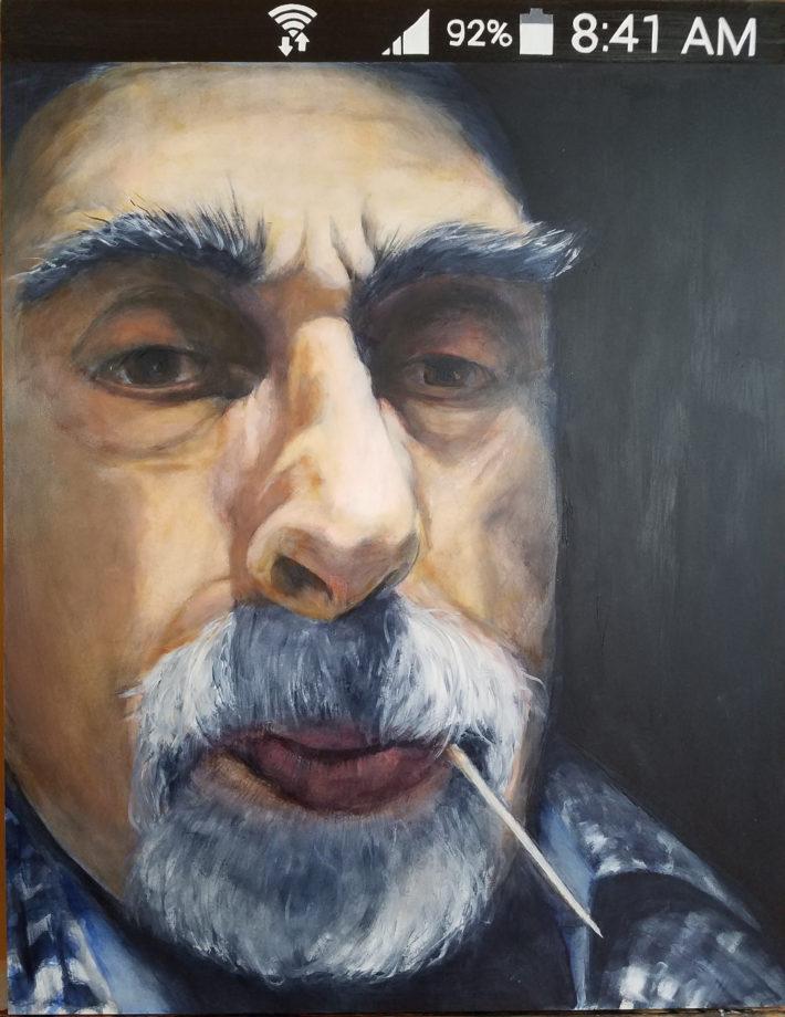 """Tony - Selfie, Oil on panel, 24"""" x 18"""""""