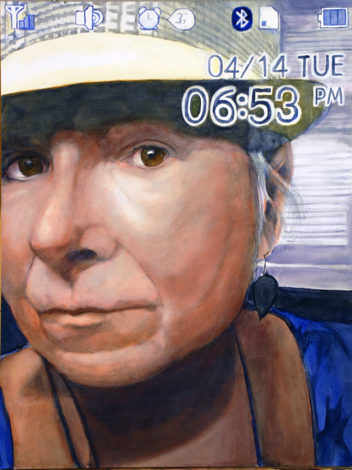 "Georgette - Selfie, Oil on panel, 24"" x 18"", copyright 2015, Paul XO Pinkman"