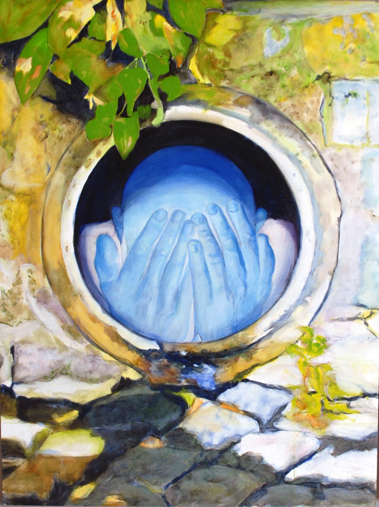"Subterfuge. Paul XO Pinkman. 2015. Oil on panel 24"" h x 18"" w"