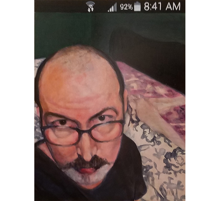 Bob-selfie, oil on panel, 24 x 18