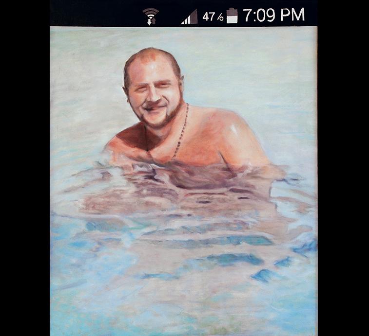 "Selfie: John, Oil on canvas, 24"" x 20"""