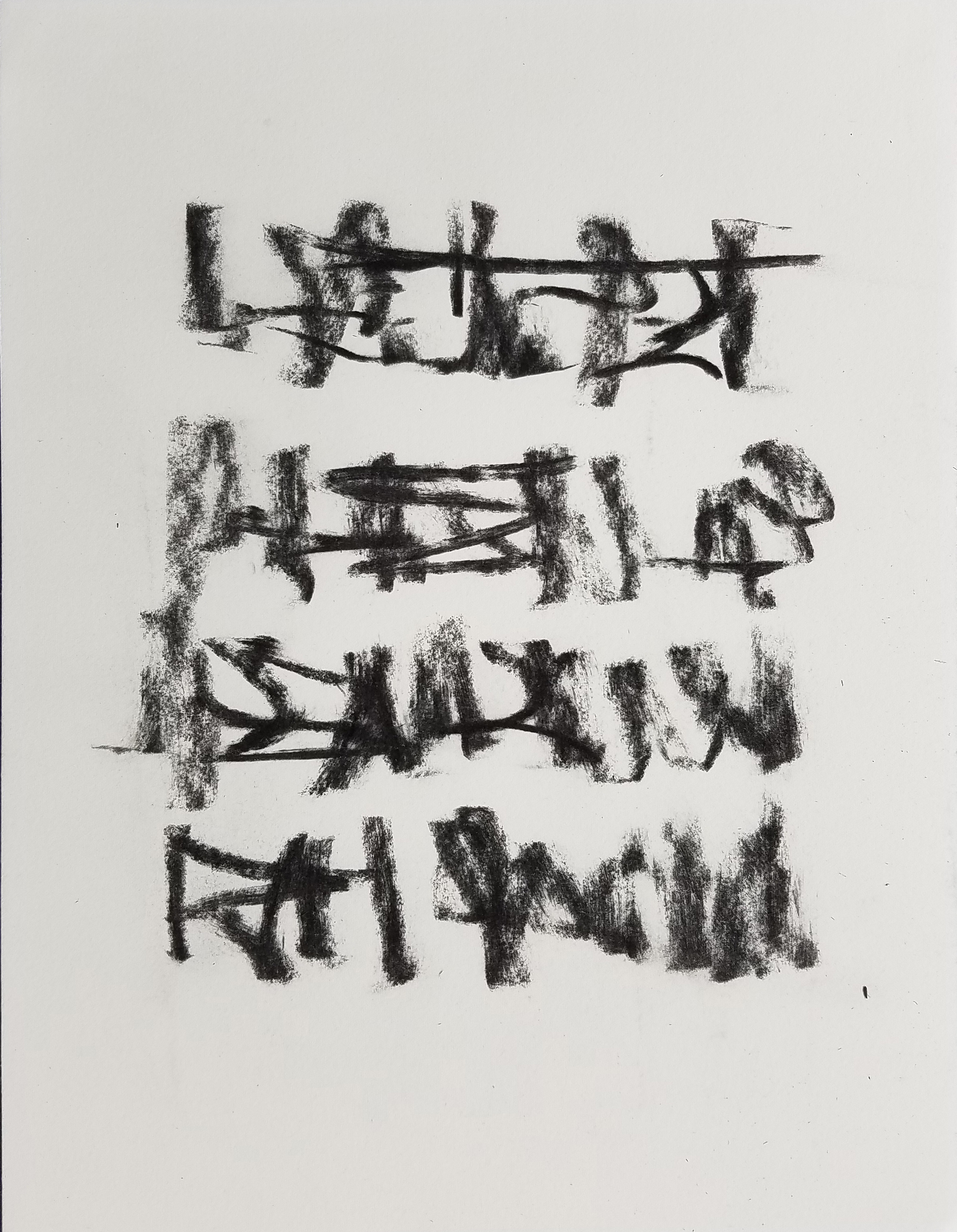 Letter to Andrew #16, Charcoal on paper