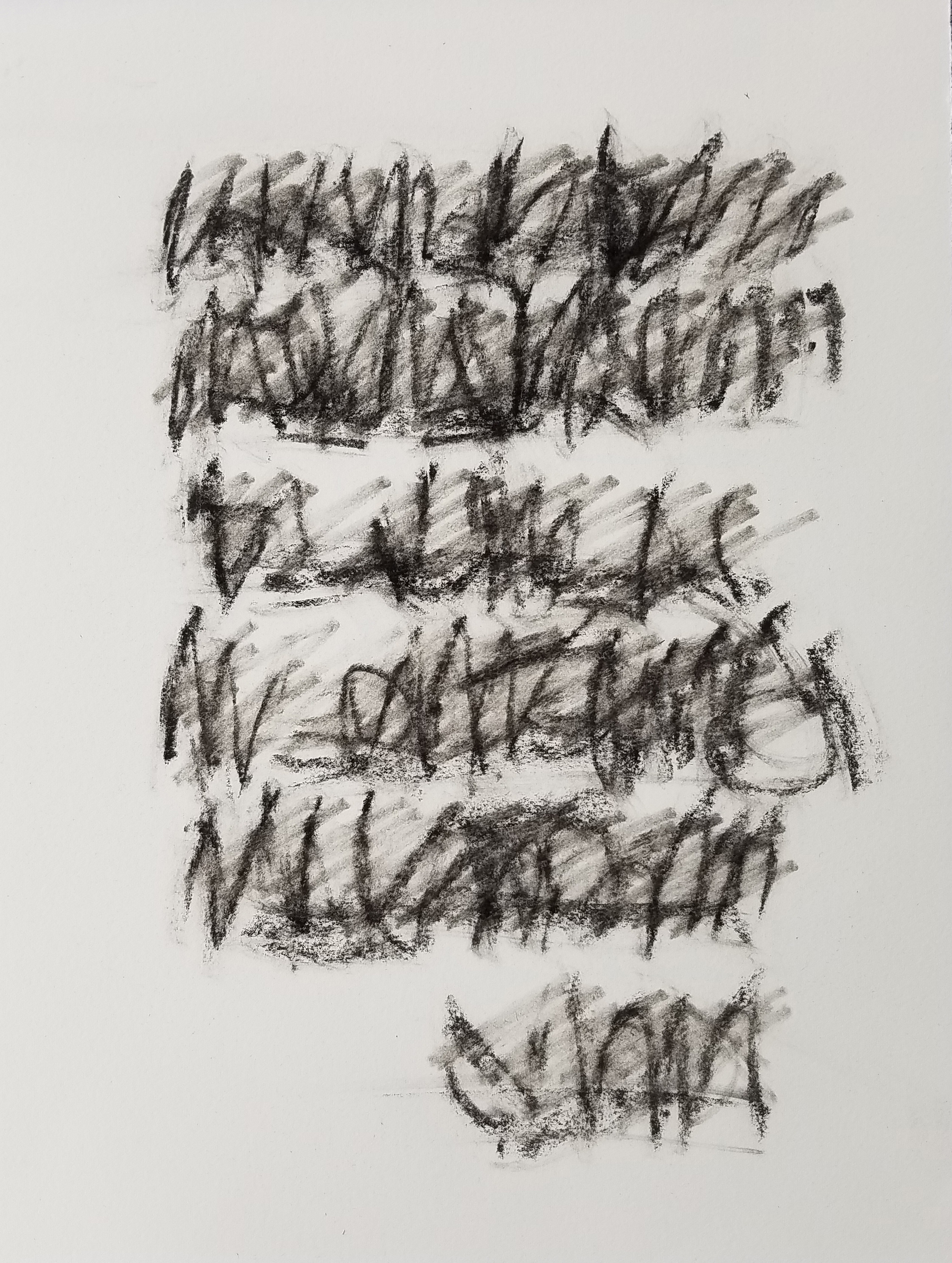 Letter to Andrew #17, Charcoal on paper