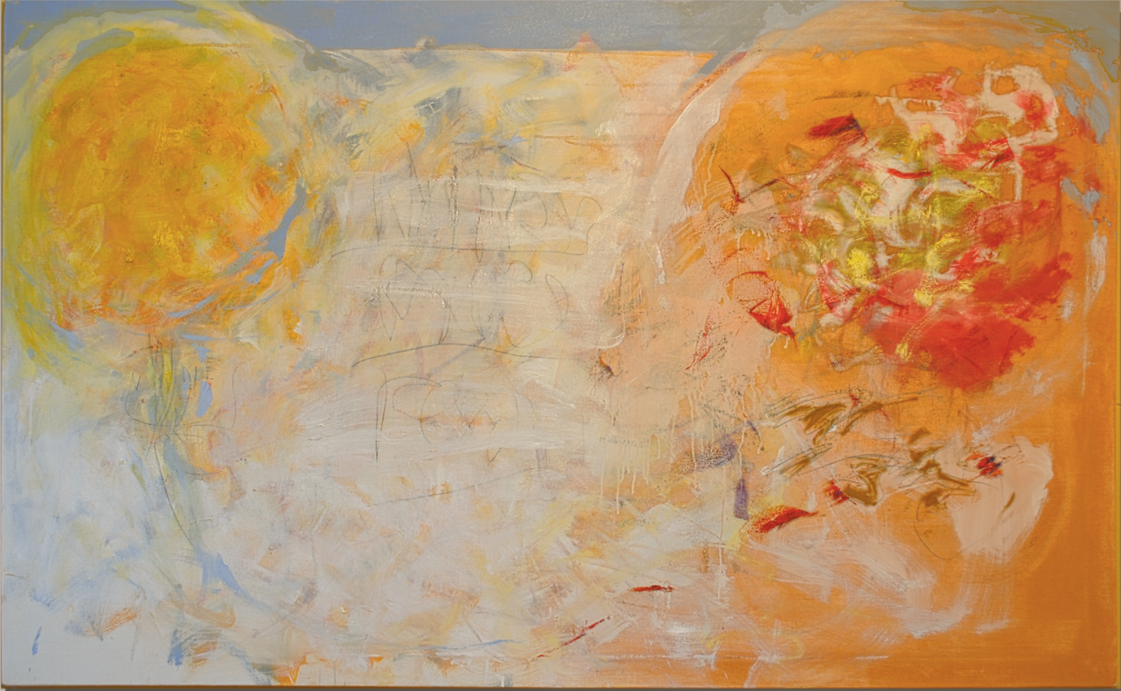 "Narcissus Echo Foxtrot, Oil, clay, tumeric, charcoal on canvas. 46"" h x 74"" w"