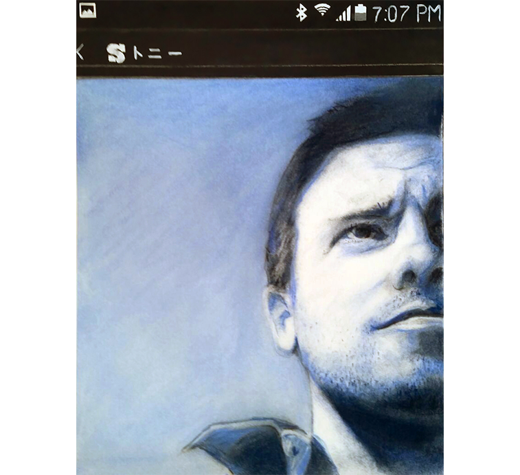 Tony-selfie, chalk pastel on paper, 10 x 8