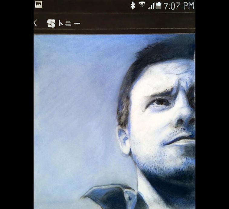 Tony-selfie, chalk pastel on paper, 10 x 8