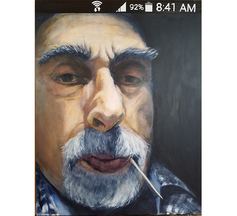 "TonyK - Selfie, Oil on panel, 24"" x 18"""