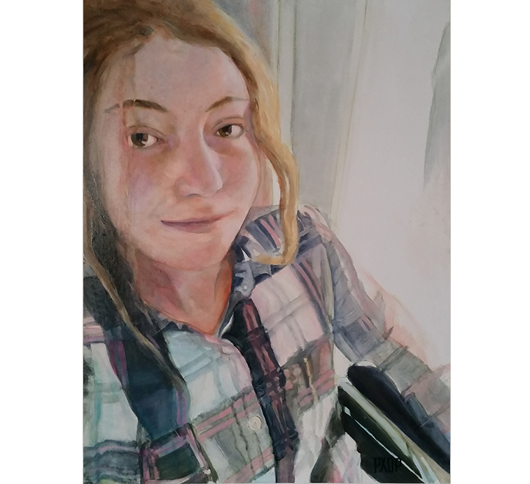 "Kayleigh - Selfie, Oil on panel, 24"" x 18"""