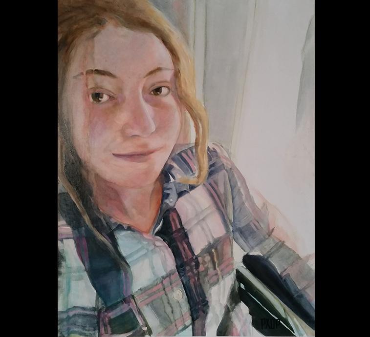 """Kayleigh - Selfie, Oil on panel, 24"""" x 18"""""""