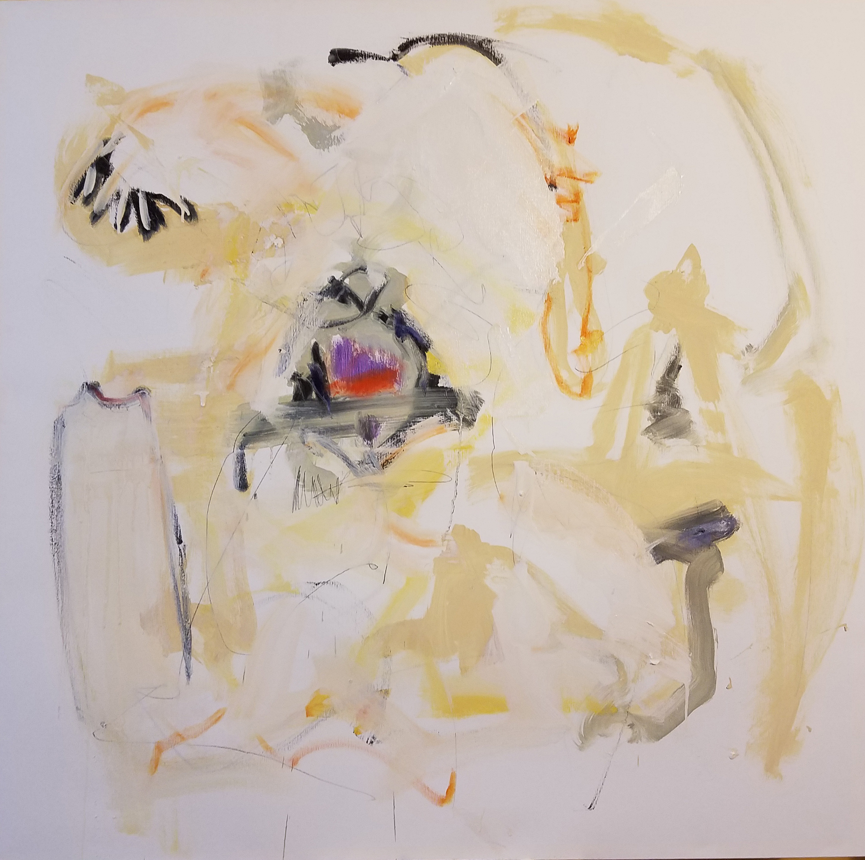 """Sacré-Cœur, Oil, graphite, charcoal on canvas 40"""" x 40"""""""